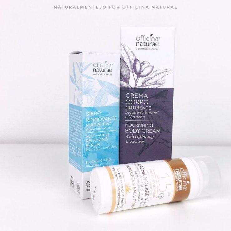 novità Officina Naturae: siero rinnovante multisttivo, crema corpo nutriente e crema solare spf 15
