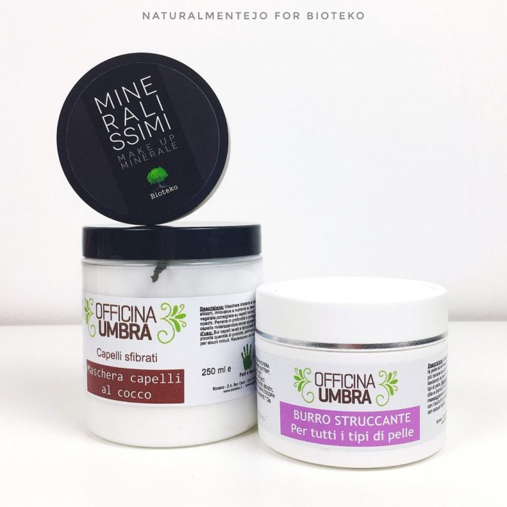 prodotti Bioteko: cipria mineralissimi, burro struccante officina umbra, maschera per capelli al cocco officina umbra