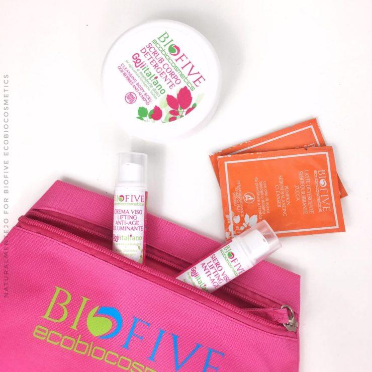 Sample con pochette rosa brandizzata biofive ecobiocosmetics