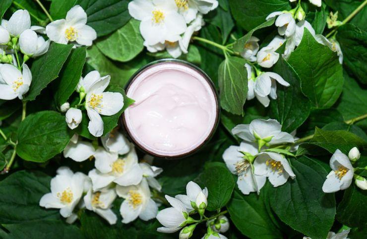 crema viso su fiori di gelsomino