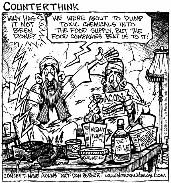 Information on dangers of industrial food is suppressed by more noise through campaigns of advertising, PR, sponsored research  | Cartoon Concept - Mike Adams; Cartoon Art - Dan Berger; 2006; source and courtesy - naturalnews.com  |  Click for larger source image.
