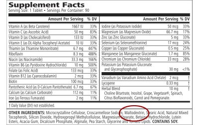 Alerta al consumidor: las vitaminas más comunes, incluidos los niños, que se encuentran vitaminas que contienen OGM barato Multi Vitamin Maltodextrina 01 400