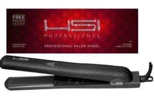 HSI PROFESSIONAL 1 CERAMIC TOURMALINE IONIC FLAT IRON HAIR STRAIGHTENER FREE GLOVE + POUCH