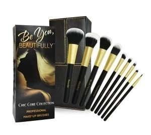 Professional 8 Piece Makeup Brush Set with Designer Case Plus BONUS Stippling Brush