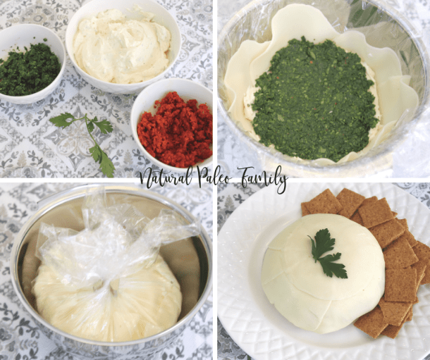Collage: the pesto, sun-dried tomatoes in separate bowls; the pesto layer going into the blossom in a bowl; the blossom wrapped in plastic wrap in a bowl; the finished pesto cheese blossom on a plate with crackers