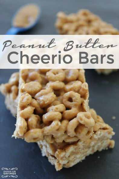 stacked peanut butter cheerio bars