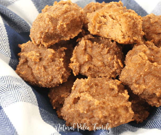 a bowl of paleo breakfast pumpkin cookies, fresh healthy gluten free pumpkin cookies