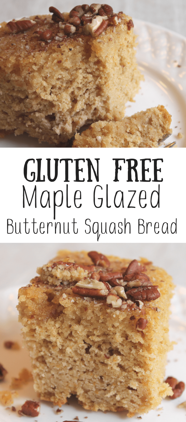 Looking for a great baked bread or cake with a serving of vegetables?  This gluten free maple glazed butternut squash bread is perfect!