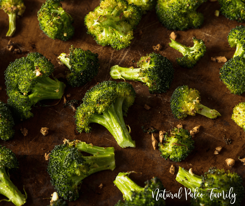 garlic roasted broccoli on a baking sheet