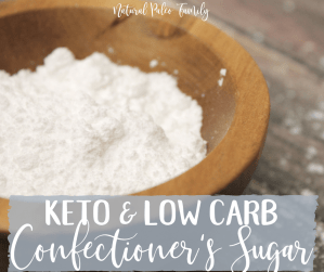 wooden bowl full of keto confectioner's sugar