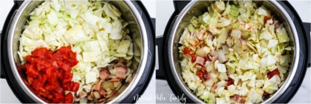 chopped cabbage and tomatoes added and mixed into the instant pot