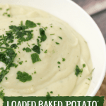 """We all know how healthy soups can be, but what nobody ever seems to mention is how boring they can be.Often times, people miss eating creamy soups, and who wouldn't? They are thick and delicious. I made this loaded baked """"potato"""" cauliflower bisque because I was missing those creamy soups too."""