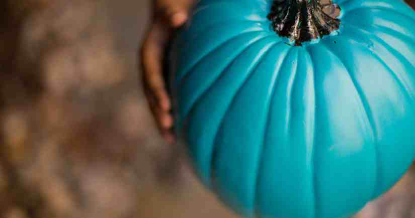 Hands holding a teal pumpkin