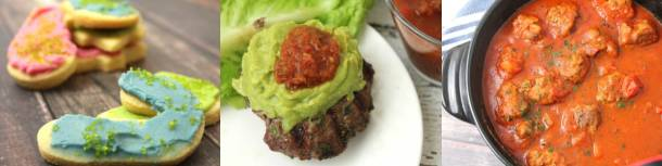 keto Christmas cutout cookies; burgers with guacamole and salsa; meatballs in spaghetti sauce