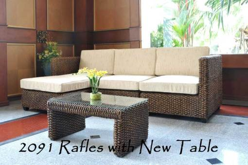 2091-Refless Wicker Sofa with New Table