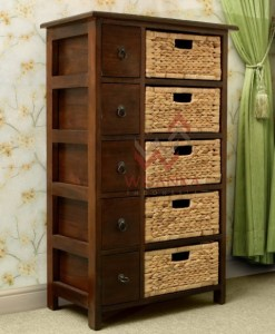 Yuan Wooden Wicker Cabinet