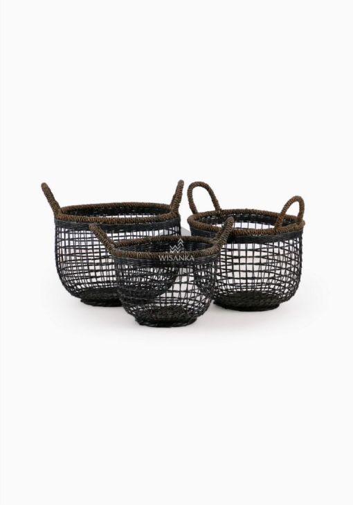 Syme Rattan Abaca Basket B - Black Wash Set