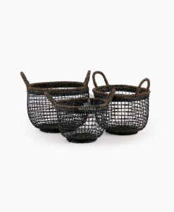 Syme Rattan Abaca Basket B - Black Wash Set