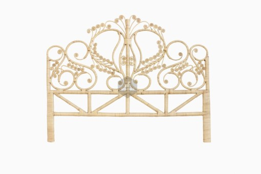 Crown Peacock Rattan Headboard