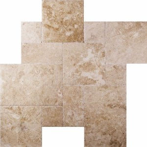 Cappuccino Brushed Chiseled French Pattern Marble Tile