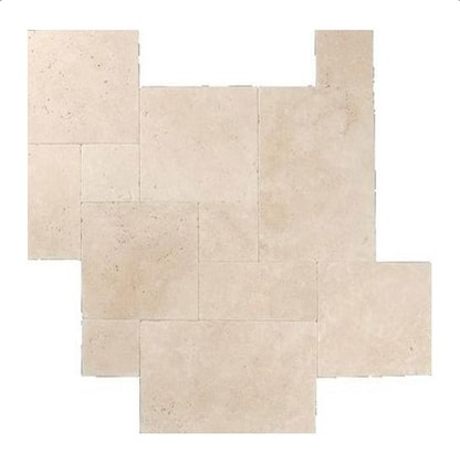 Ivory Travertine Brushed Chiseled French Pattern Tile