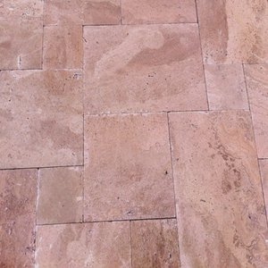 Mocha Travertine Paver Tumbled French (Versailles) Pattern