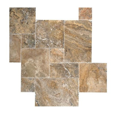 Scabos Travertine Brushed Chiseled French (Versailles) Pattern Tile