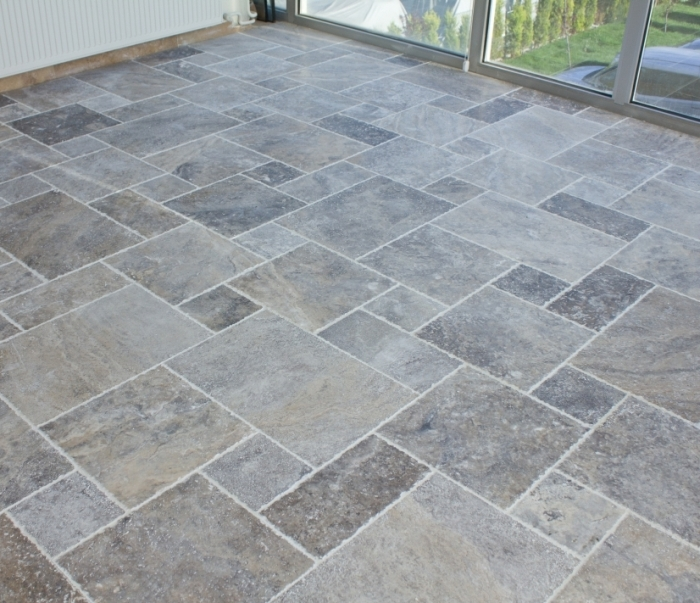 Silver Travertine Brushed Chiseled French (Versailles) Pattern Tile