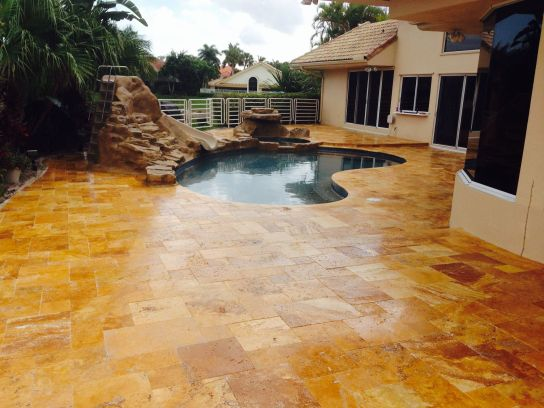 Gold Travertine Pavers Tumbled French (Versailles) Pattern and Pool coping