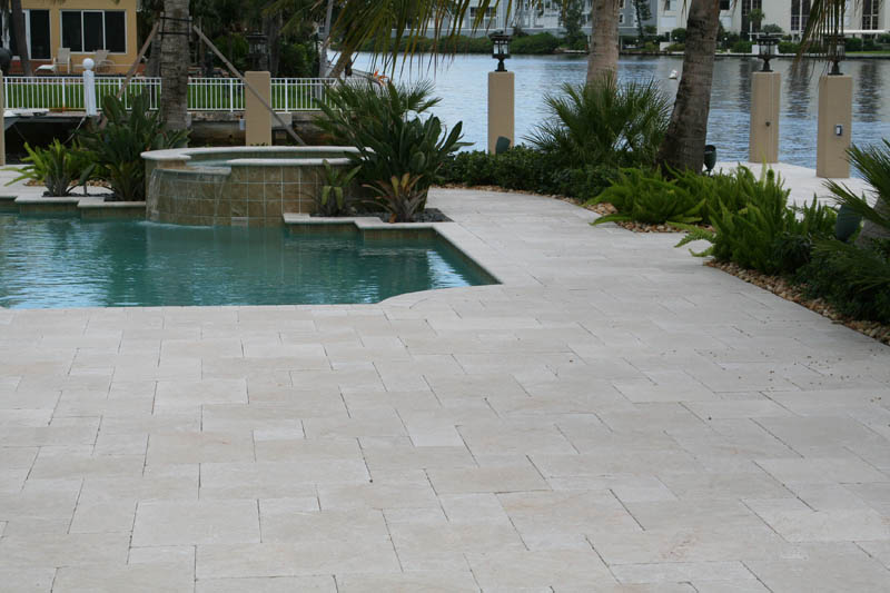 Pearl Beige Marble Pavers Tumbled French Pattern