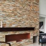 Golden honey stacked stone san jose ledger panel fireplace
