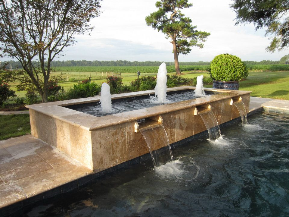 Tuscany noce travertine pool copings waterfall