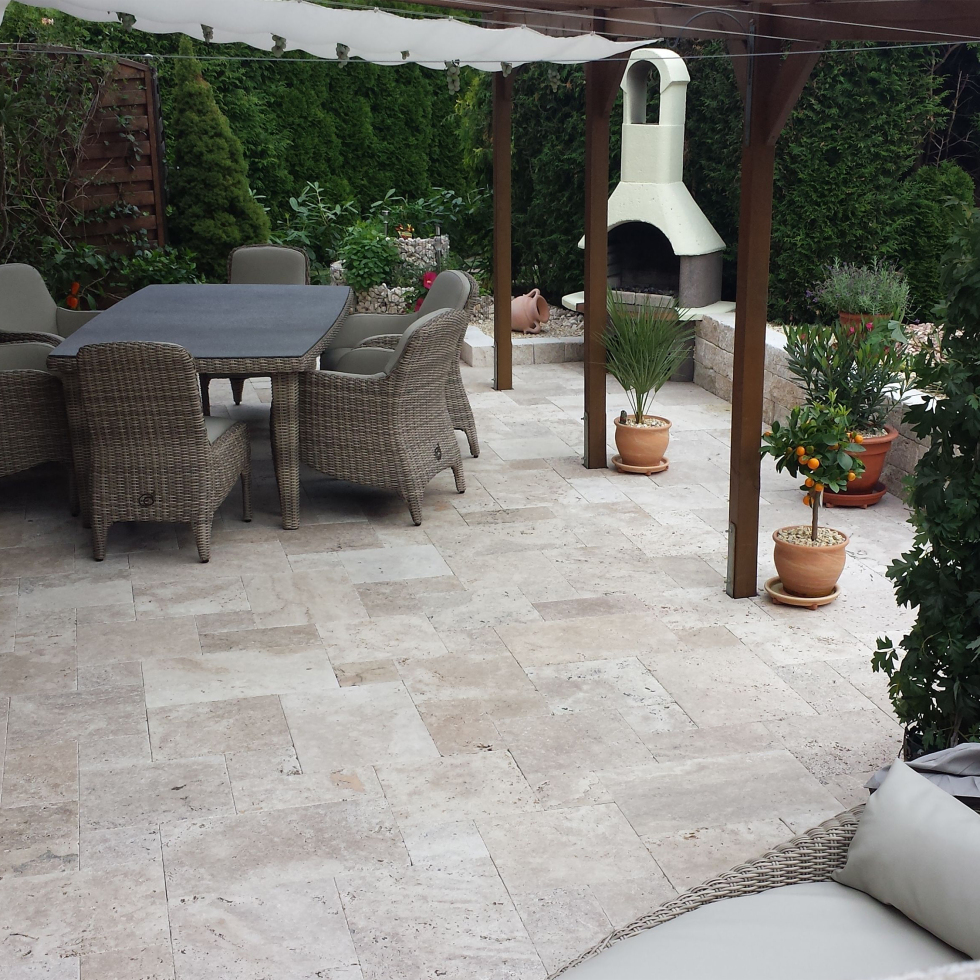 Tuscan Blend travertine pavers french pattern stone patio san jose