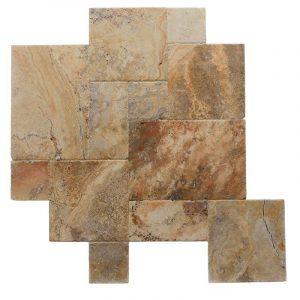 Tuscany Scabos Brushed Chiseled French Pattern Travertine Tile TTSCAB-PAT-HUFC