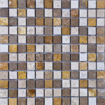 1x1 Mixed Tumbled Travertine Mosaic