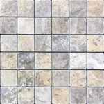"2""x2"" Silver Travertine Mosaic"