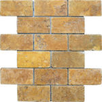 "2""x4"" Gold Travertine Mosaic"