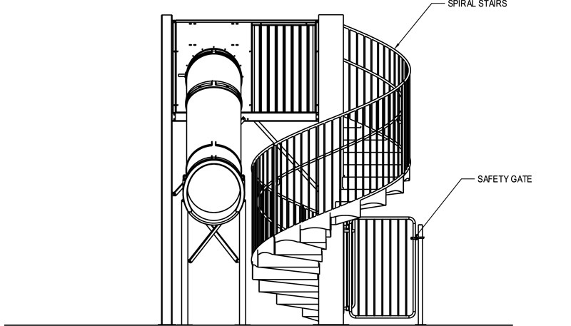 Natural Structures Drop Slide Pool Slides | Spiral Staircase With Slide | Modern | 1930'S | Interior | Cool | Stainless Steel Spiral