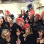 Choir wearing fascinators for a flash mob marriage proposal