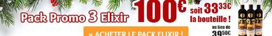 Pack Promo 3 Elixir, 100€. Soit 33,33€ la bouteille!