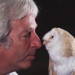 Tony Warburton, Honorary President of the World Owl Trust and Geogie.