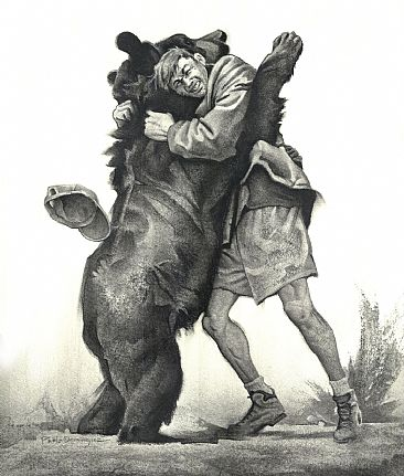 Black Bearhug - Black bear and man by Pablo Dominguez