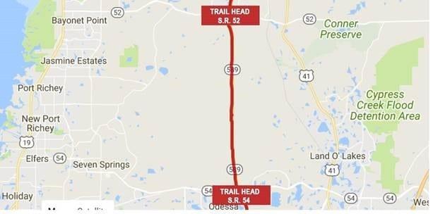 Suncoast Trail Closure in Pasco County February 27-March 9