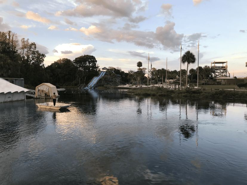 The sunset over the Newton Perry Underwater Theatre and Buccanneer Bay