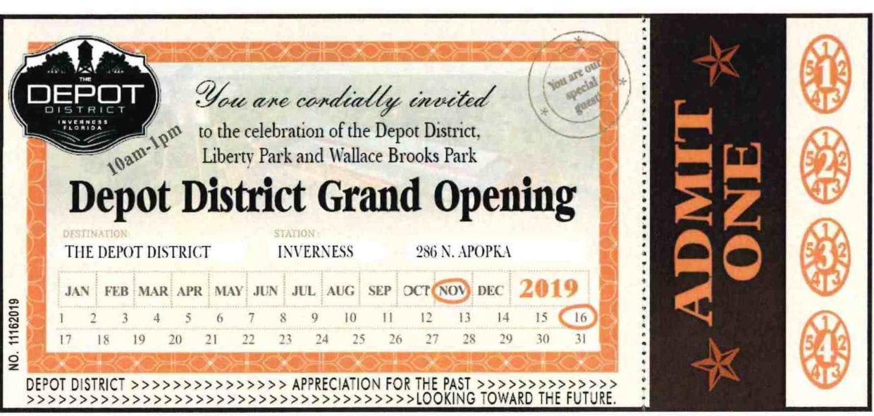 inverness depot district grand opening ticket
