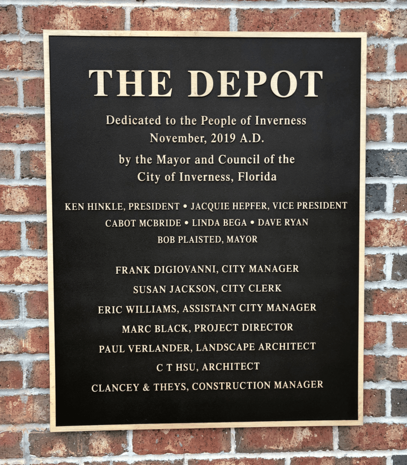 The Inverenss Depot plaque