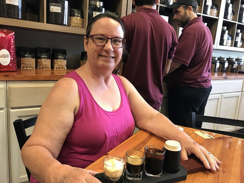 Diane of Nature Coast with a Cattle Dog Coffee Flight
