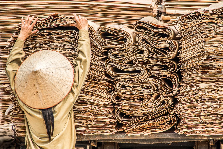Nord Vietnam Atelier de placage de bois