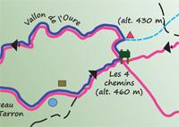 Carte des sentiers - Site des Quatre Frères