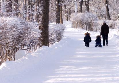 family winter walk